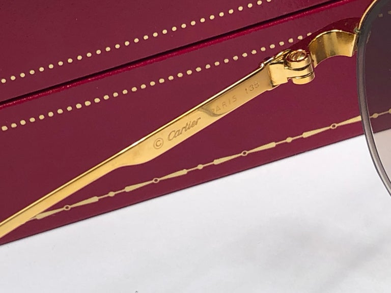 New Cartier Colisee Half Frame 49mm Sunglasses 18k Gold Sunglasses France For Sale 3