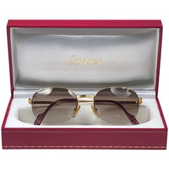 New Cartier Colisee Half Frame 49mm Sunglasses 18k Gold Sunglasses France