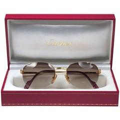 New Cartier Colisee Half Frame 49mm Sunglasses 18k Gold Sunglasses France