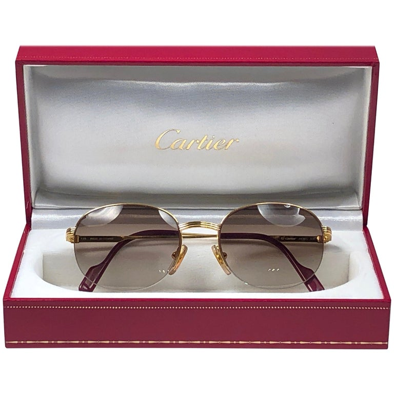 New Cartier Colisee Half Frame 49mm Sunglasses 18k Gold Sunglasses France For Sale