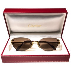 New Cartier Condotti Rimless Gold 55mm Brown Lens France Sunglasses