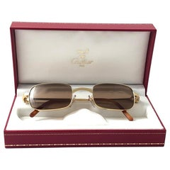 New Cartier Dreamer 50mm Brushed Gold Plated Brown Lenses Sunglasses France