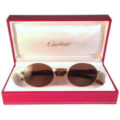 New Cartier Giverny Gold and Wood Large 47/20 Full Set Brown Lens Sunglasses