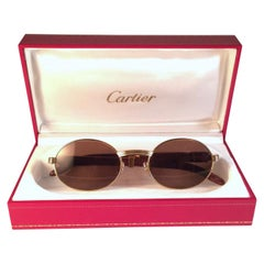 New Cartier Giverny Gold and Wood Large 53/22 Full Set Brown Lens Sunglasses
