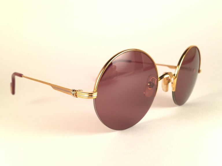 Beige New Cartier Mayfair Round Half Frame Gold 45mm Brown Lens France Sunglasses For Sale