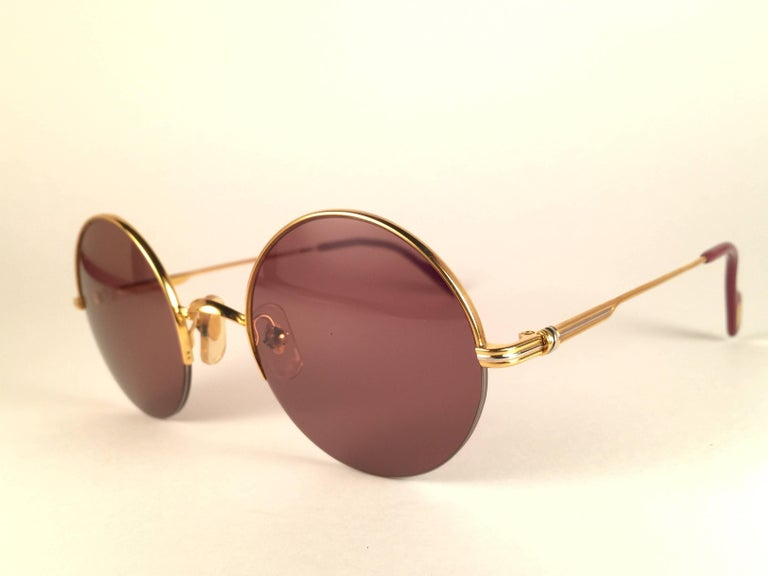New Cartier Mayfair Round Half Frame Gold 45mm Brown Lens France Sunglasses In New Condition For Sale In Amsterdam, Noord Holland