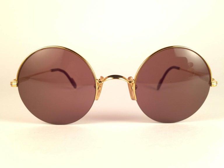Women's or Men's New Cartier Mayfair Round Half Frame Gold 45mm Brown Lens France Sunglasses For Sale