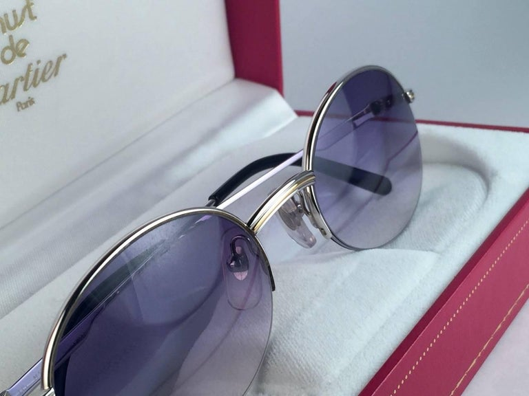 New Cartier Oval Platine Manhattan 53mm Frame 18k Plated Sunglasses France In New Condition For Sale In Amsterdam, Noord Holland