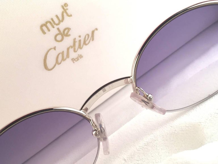 Women's or Men's New Cartier Oval Platine Manhattan 53mm Frame 18k Plated Sunglasses France For Sale