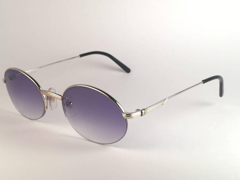 New Cartier Oval Platine Manhattan 53mm Frame 18k Plated Sunglasses France For Sale 2