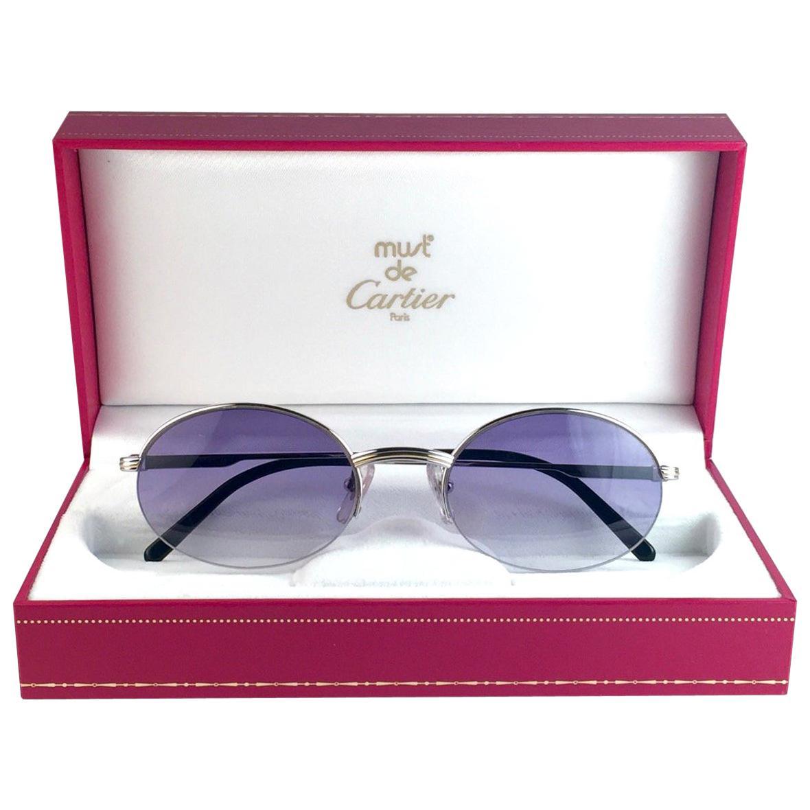 New Cartier Oval Platine Manhattan 51mm Frame 18k Plated Sunglasses France