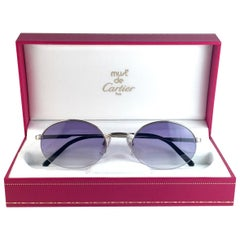 New Cartier Oval Platine Manhattan 51mm Frame 18k Plated Sunglasses France