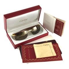 New Cartier Rimless C Decor Precious Wood Full Set France Sunglasses