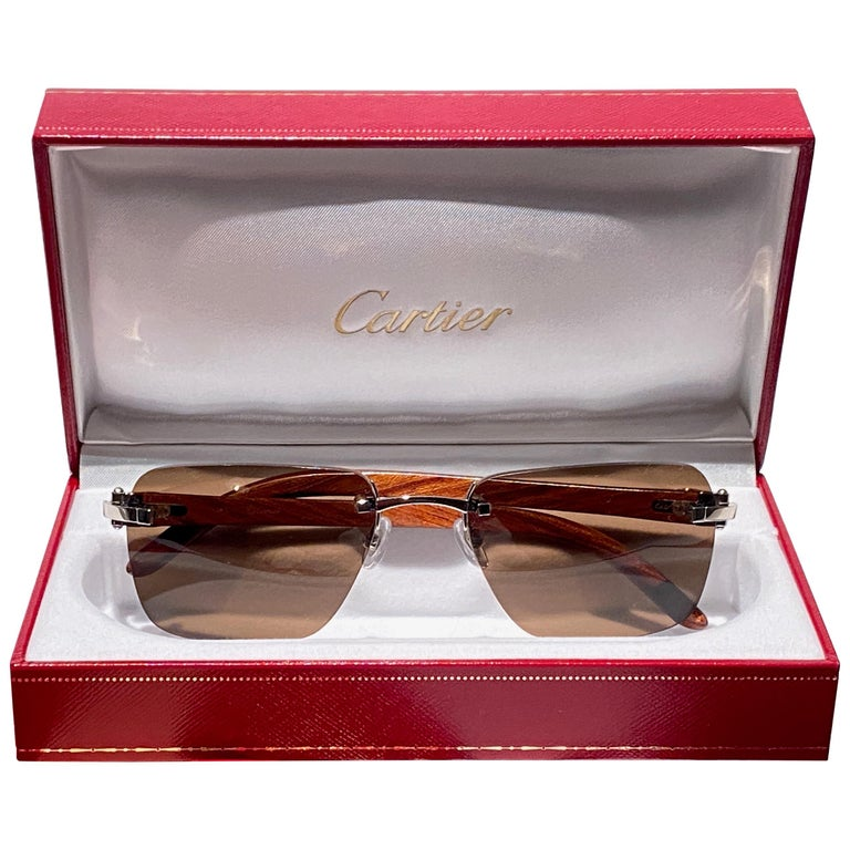 "New Cartier Rimless "" CROCO "" C Decor Precious Wood Full Set France Sunglasses For Sale"