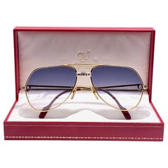 New Cartier Santos Screws 1983 59mm 18K Heavy Plated Blue Lens Sunglasses France