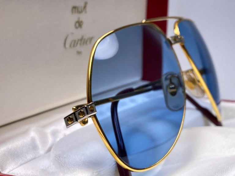 New Cartier Santos Screws 1983 62M 18K Heavy Plated Blue Lens Sunglasses France In New Condition For Sale In Amsterdam, Noord Holland