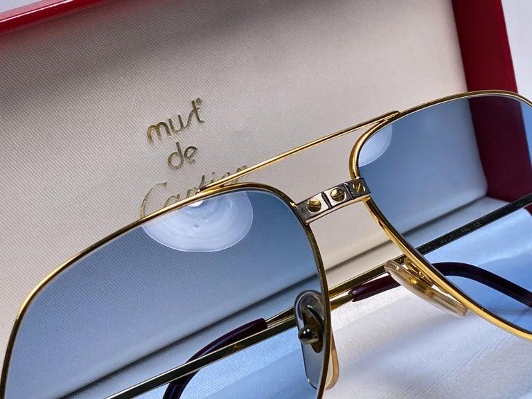 Women's or Men's New Cartier Santos Screws 1983 62M 18K Heavy Plated Blue Lens Sunglasses France For Sale