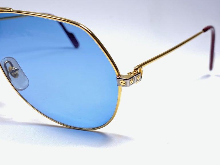 New Cartier Santos Screws 1983 62M 18K Heavy Plated Blue Lens Sunglasses France For Sale 1