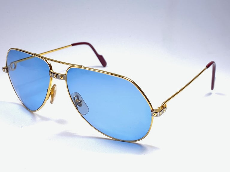 New Cartier Santos Screws 1983 62M 18K Heavy Plated Blue Lens Sunglasses France For Sale 2