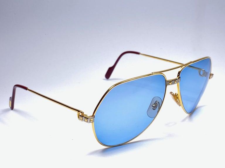 New Cartier Santos Screws 1983 62M 18K Heavy Plated Blue Lens Sunglasses France For Sale 3