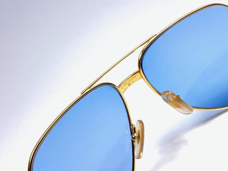 New Cartier Santos Screws 1983 62M 18K Heavy Plated Blue Lens Sunglasses France For Sale 4