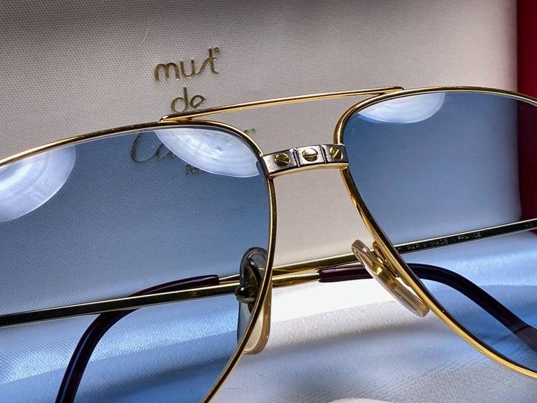 New Cartier Santos Screws 1983 62M 18K Heavy Plated Blue Lens Sunglasses France For Sale 5