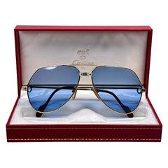 New Cartier Santos Screws 1983 62M 18K Heavy Plated Blue Lens Sunglasses France