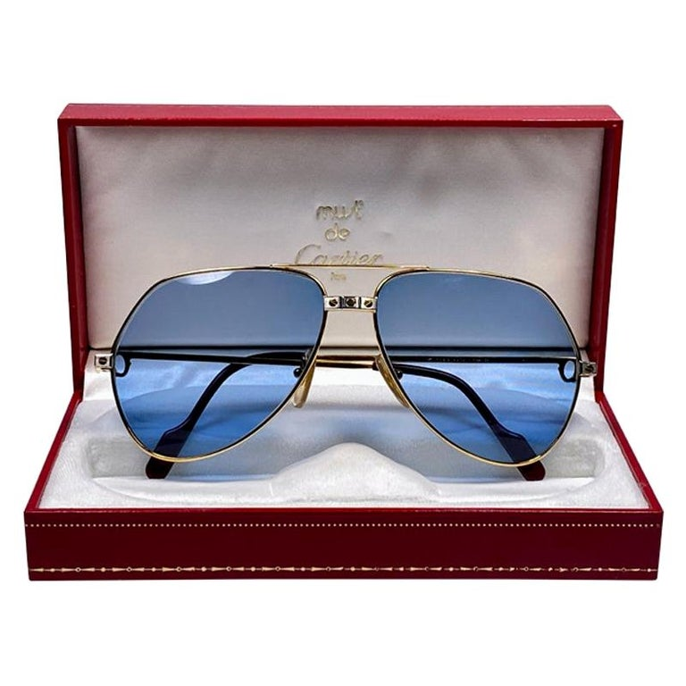 New Cartier Santos Screws 1983 62M 18K Heavy Plated Blue Lens Sunglasses France For Sale