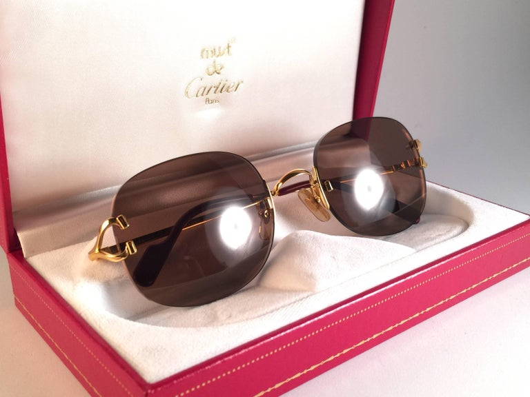 New Cartier Serrano Rimless Gold 55mm Brown Lens France Sunglasses In New Condition For Sale In Amsterdam, Noord Holland