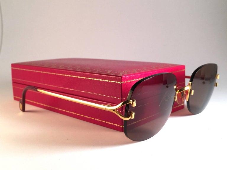 Women's or Men's New Cartier Serrano Rimless Gold 55mm Brown Lens France Sunglasses For Sale