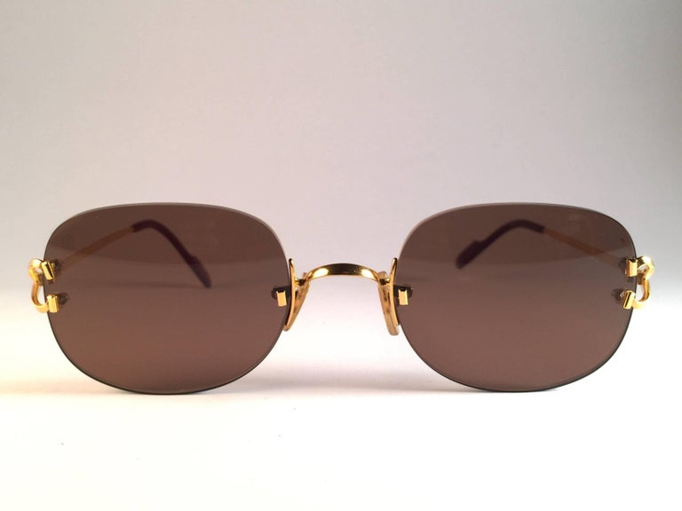New Cartier Serrano Rimless Gold 55mm Brown Lens France Sunglasses For Sale 1