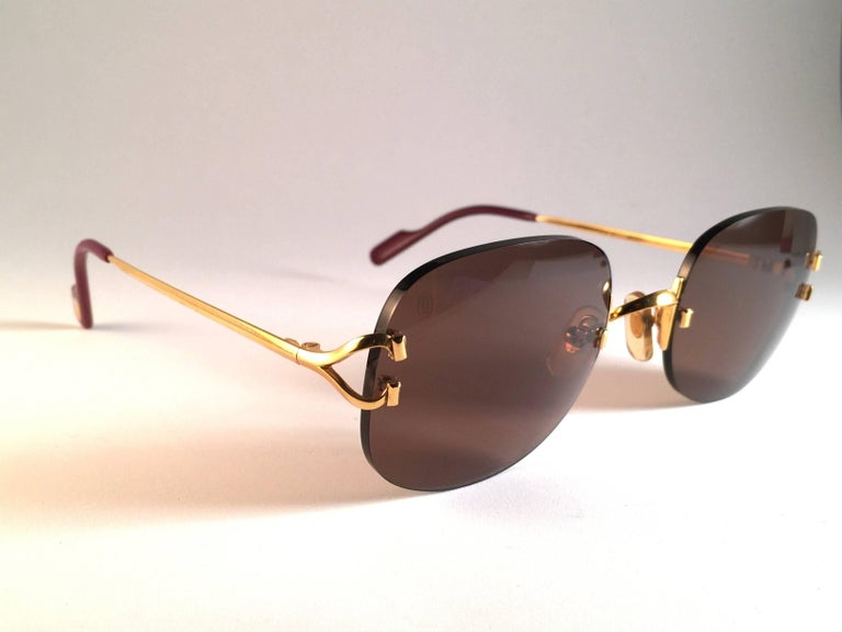 New Cartier Serrano Rimless Gold 55mm Brown Lens France Sunglasses For Sale 2