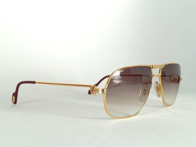 Women's or Men's New Cartier Tank 59mm Medium Gradient Vendome Sunglasses France 18k Sunglasses For Sale