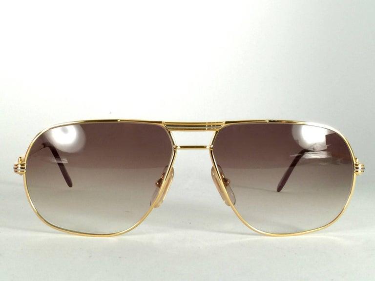 New Cartier Tank 59mm Medium Gradient Vendome Sunglasses France 18k Sunglasses For Sale 1