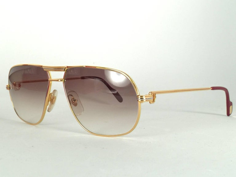 New Cartier Tank 59mm Medium Gradient Vendome Sunglasses France 18k Sunglasses For Sale 2