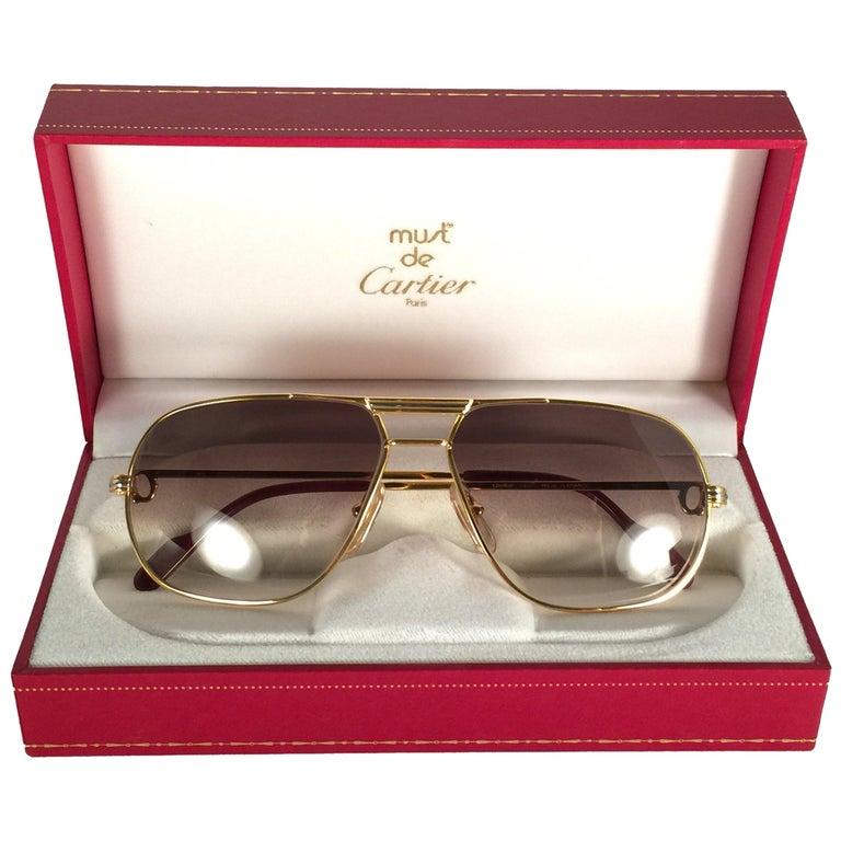 New Cartier Tank 59mm Medium Gradient Vendome Sunglasses France 18k Sunglasses For Sale