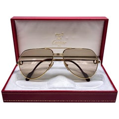 New Cartier Vendome Gold 59Mm Light Brown Lens Heavy Plated Sunglasses France