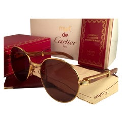 New Cartier Wood Bagatelle Round Gold & Precious Palisander 52[]18mm Sunglasses