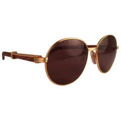New Cartier Wood Bagatelle Round Gold & Precious Palisander 55mm Brown Lens
