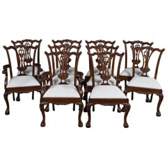 New Carved Solid Mahogany Ball and Claw Foot Set of Ten Dining Room Chairs