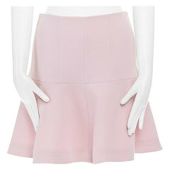 new CARVEN light pastel pink wool crepe flared hem skirt FR38