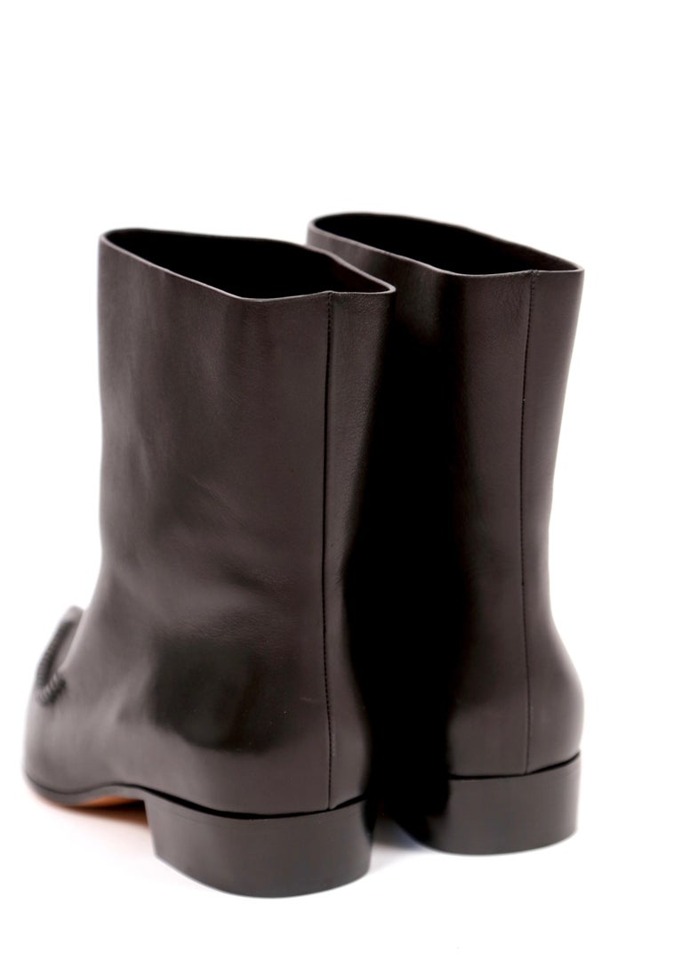 new CELINE by Phoebe Philo Santiago black leather ankle boots FR 40.5 For Sale 1
