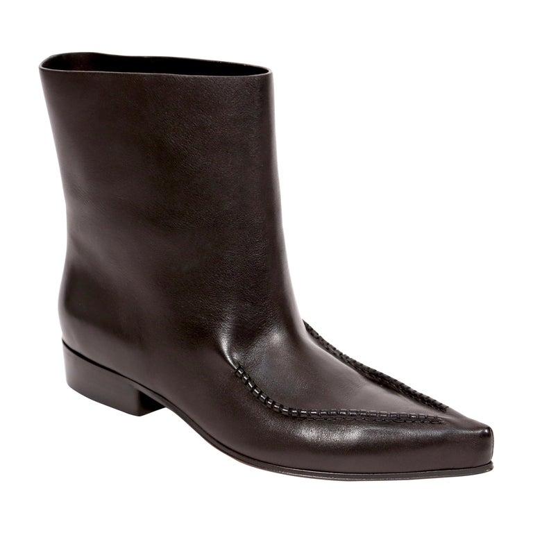 new CELINE by Phoebe Philo Santiago black leather ankle boots FR 40.5 For Sale