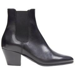 new CELINE HEDI SLIMANE black leather almond toe cuban heel ankle boot EU38