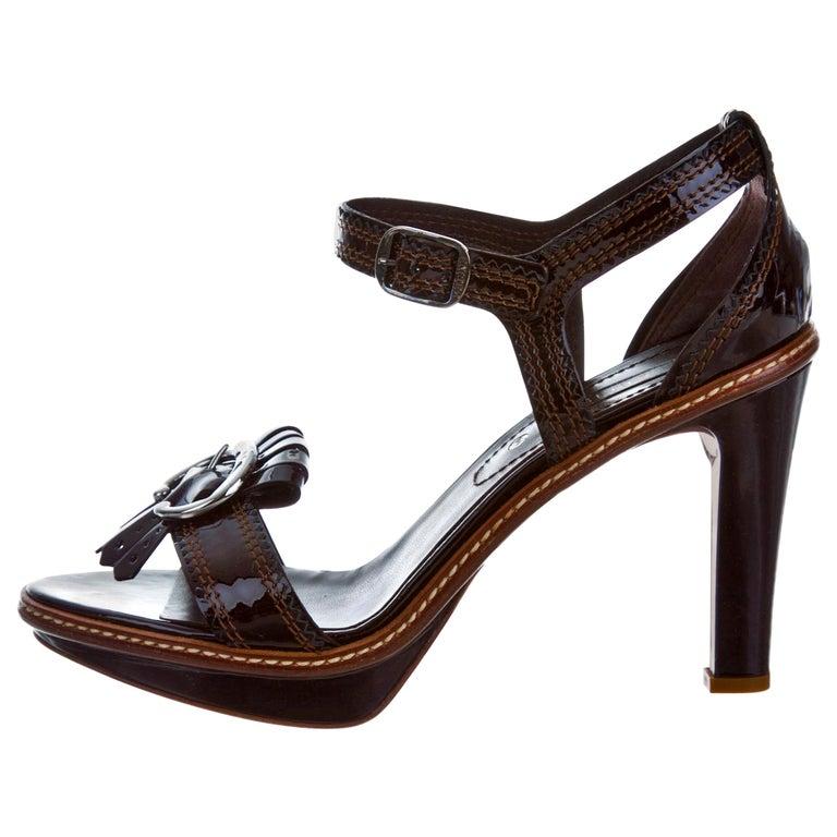 New Celine Patent Leather Brown Platform Heels Sz 39 For Sale