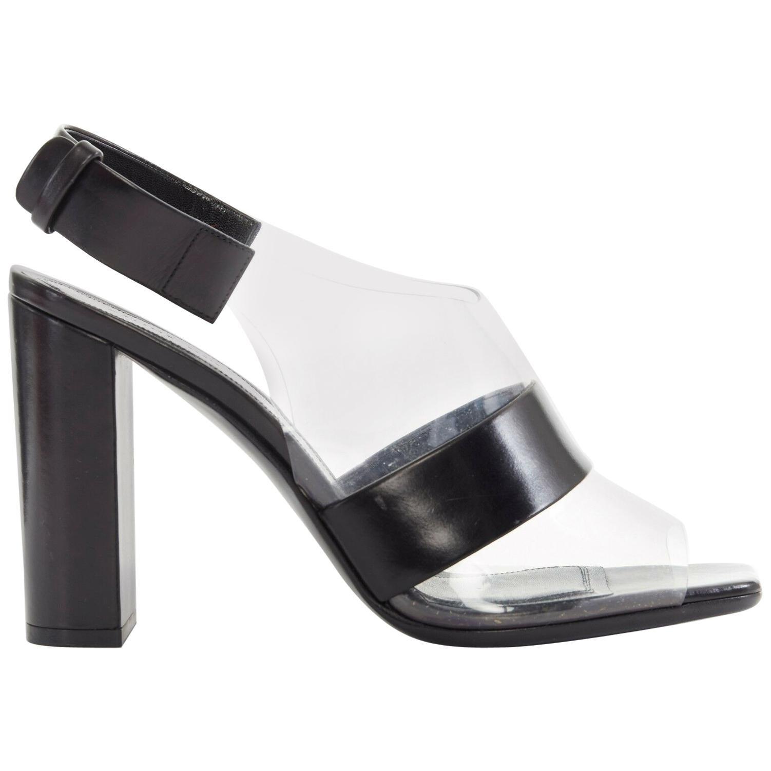 new CELINE PHILO clear PVC black leather peep toe slingback chunky heel EU38