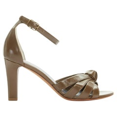 new CELINE PHILO green leather knotted front open toe ankle strap sandals EU35.5