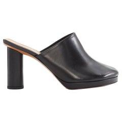 new CELINE PHILO runway 2017 black leather peeptoe pirate round heel mule EU37.5