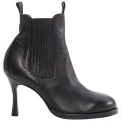 new CELINE PHILO runway 2017 black round toe high heel cowboy sock boot EU38 US8