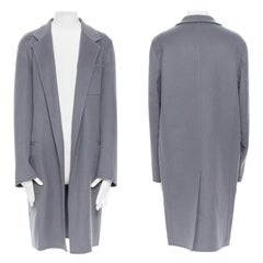 new CELINE PHOEBE PHILO 100% cashmere classic grey blue over coat FR36 S